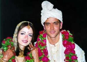Hrithik with Suzanne at their marriage.