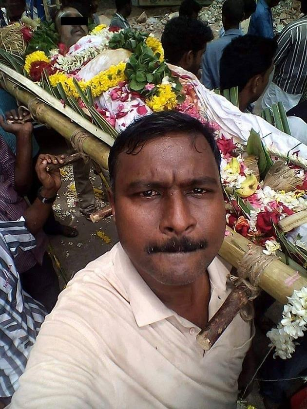 selfie while carrying dead body bed